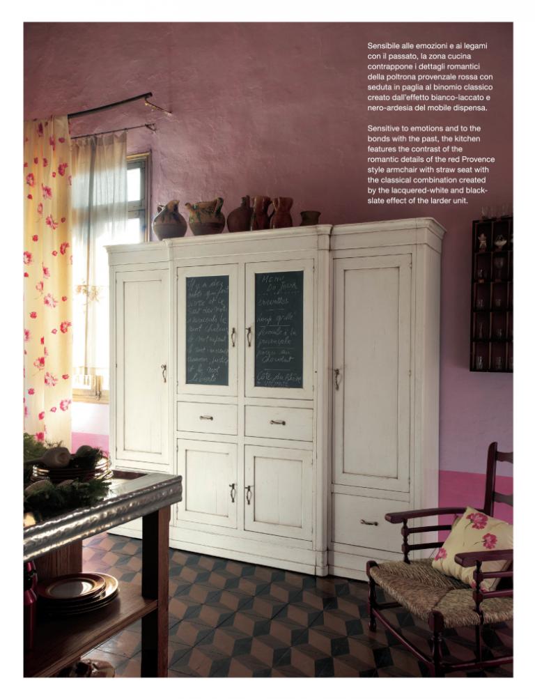 Zona cucina con dettagli romantici e classici